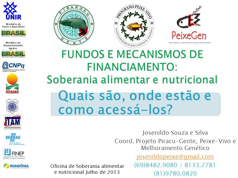 Josenildo Souza e Silva Coord. Projeto Piracu-Gente, Peixe-Vivo e Melhoramento Genético josenildopeixe@gmail.com (69)8482.9080 / 8133.7781 (81)9780.08