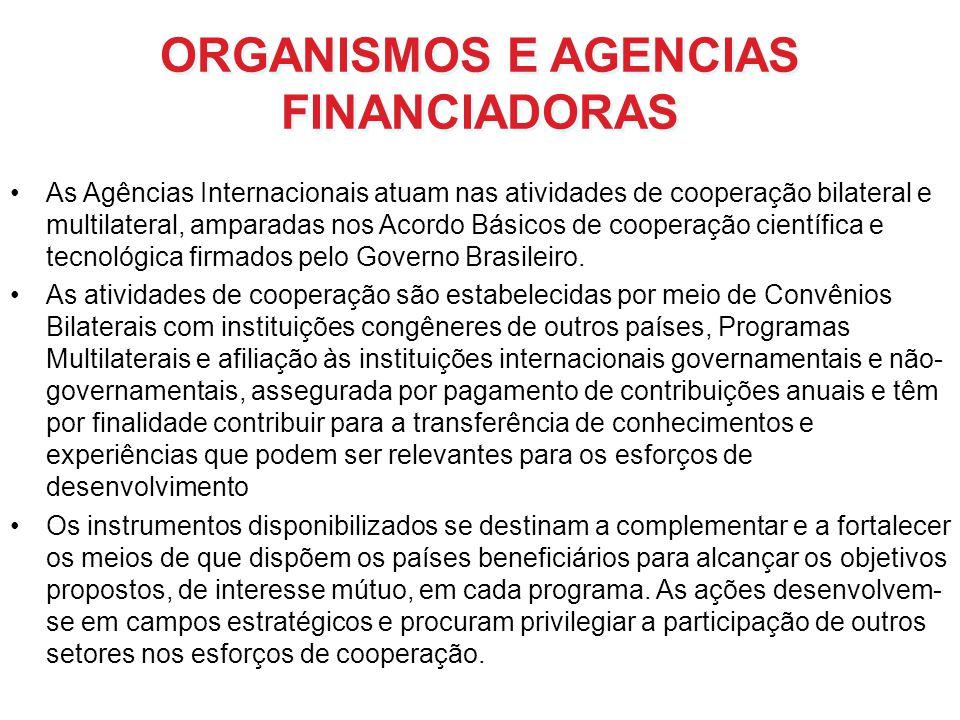ORGANISMOS E AGENCIAS FINANCIADORAS As Agências Internacionais atuam nas atividades de cooperação bilateral e multilateral, amparadas nos Acordo Básic