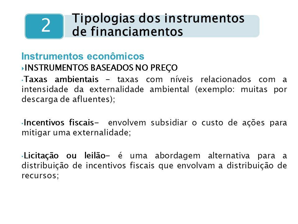 Tipologias dos instrumentos de financiamentos 2 Instrumentos econômicos  INSTRUMENTOS BASEADOS NO PREÇO Taxas ambientais – taxas com níveis relaciona