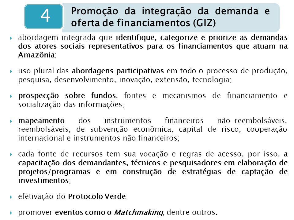  abordagem integrada que identifique, categorize e priorize as demandas dos atores sociais representativos para os financiamentos que atuam na Amazôn
