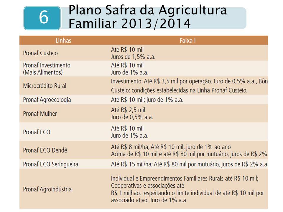 Plano Safra da Agricultura Familiar 2013/2014 6