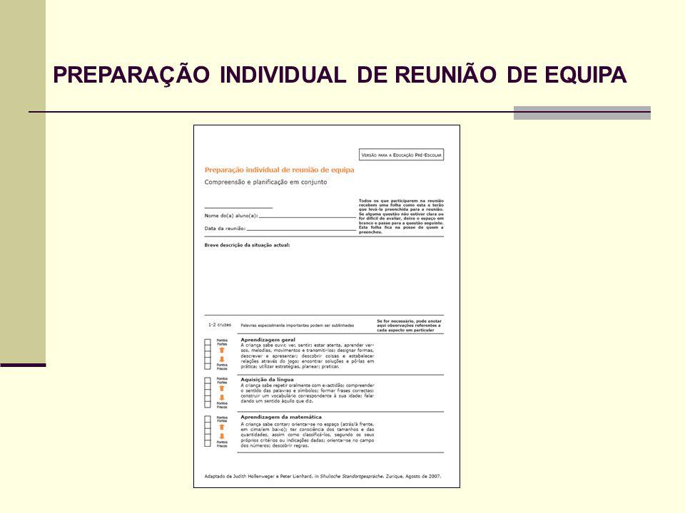 PREPARAÇÃO INDIVIDUAL DE REUNIÃO DE EQUIPA