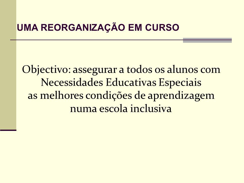 Objectivo: assegurar a todos os alunos com Necessidades Educativas Especiais as melhores condições de aprendizagem numa escola inclusiva UMA REORGANIZAÇÃO EM CURSO