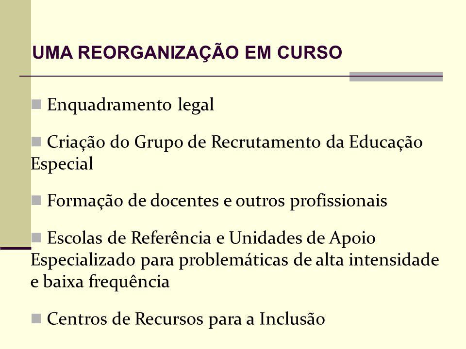 Enquadramento legal Criação do Grupo de Recrutamento da Educação Especial Formação de docentes e outros profissionais Escolas de Referência e Unidades de Apoio Especializado para problemáticas de alta intensidade e baixa frequência Centros de Recursos para a Inclusão UMA REORGANIZAÇÃO EM CURSO