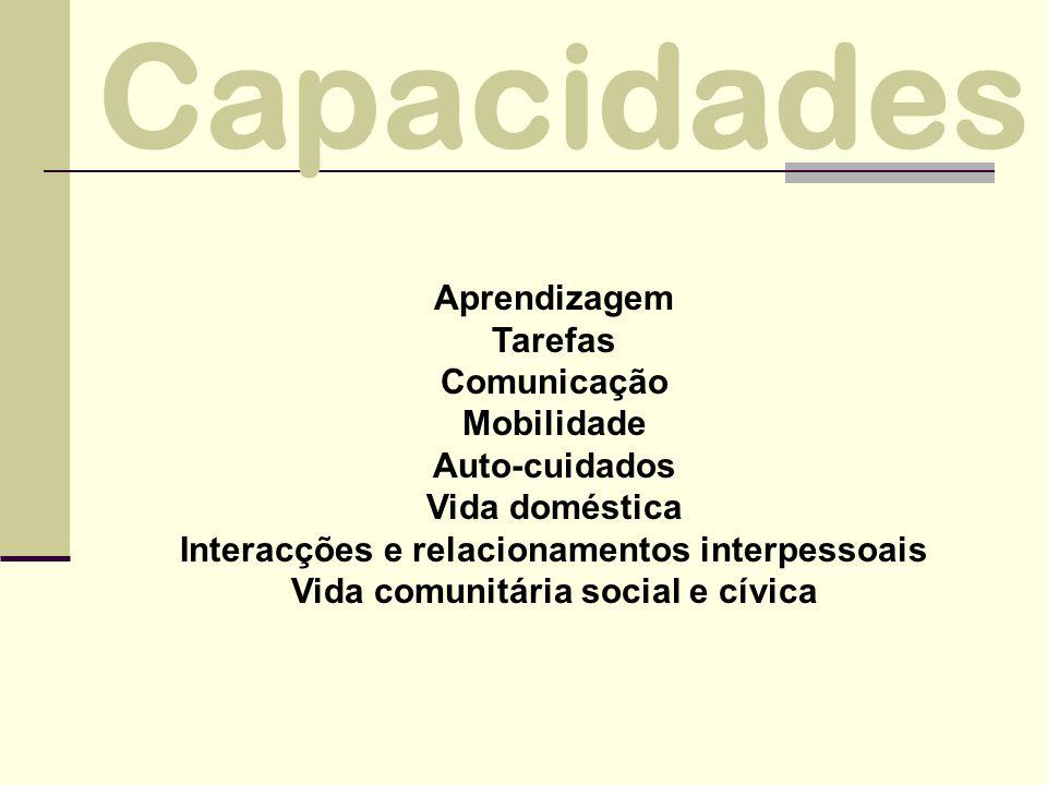 Aprendizagem Tarefas Comunicação Mobilidade Auto-cuidados Vida doméstica Interacções e relacionamentos interpessoais Vida comunitária social e cívica Capacidades