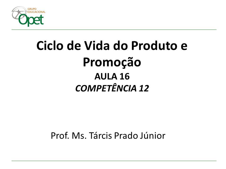 Ciclo de Vida do Produto e Promoção AULA 16 COMPETÊNCIA 12 Prof. Ms. Tárcis Prado Júnior