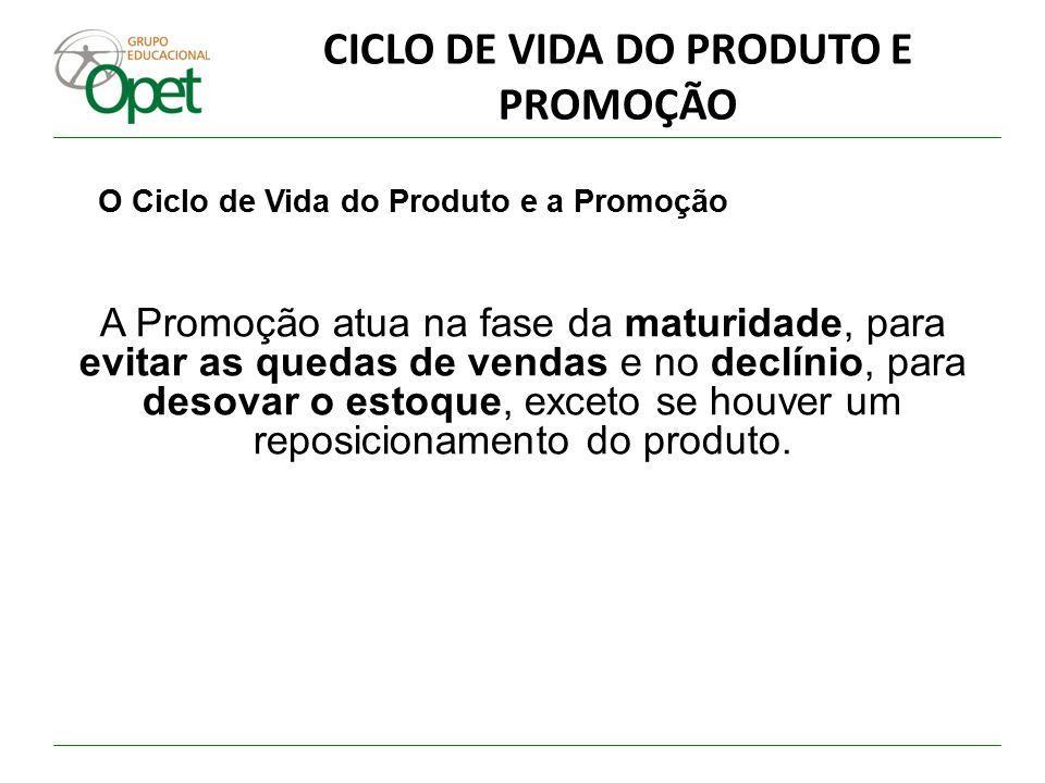 CICLO DE VIDA DO PRODUTO E PROMOÇÃO O Ciclo de Vida do Produto e a Promoção A Promoção atua na fase da maturidade, para evitar as quedas de vendas e n