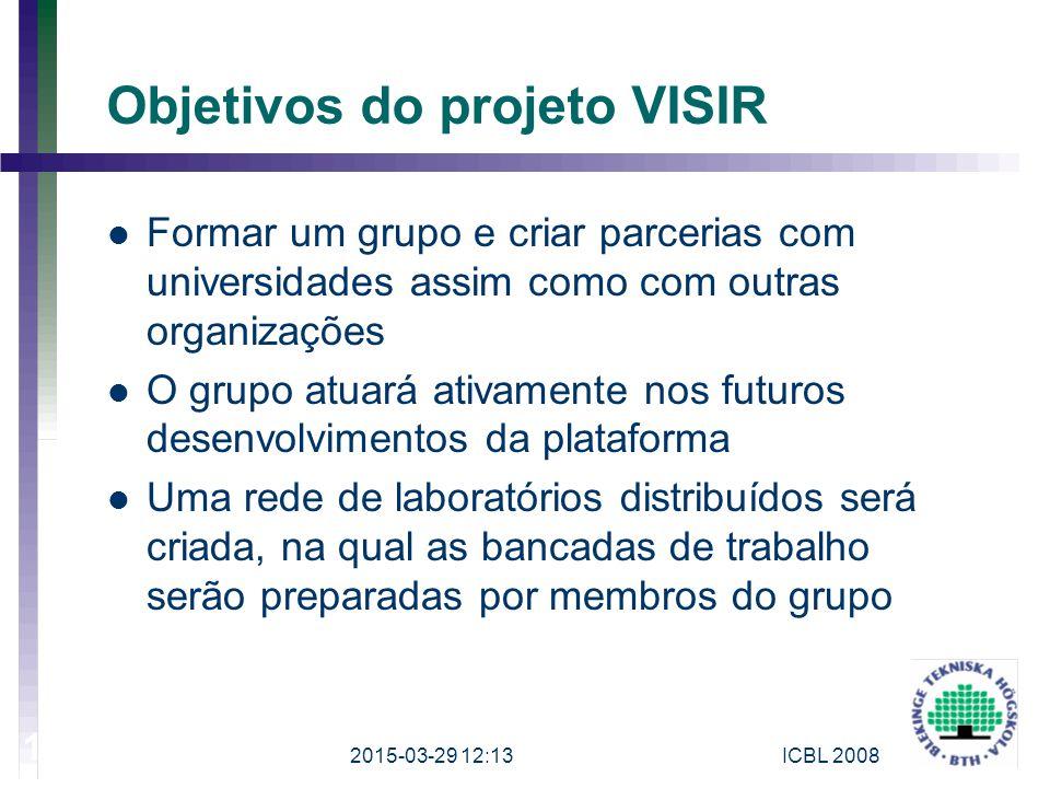 Objetivos do projeto VISIR Formar um grupo e criar parcerias com universidades assim como com outras organizações O grupo atuará ativamente nos futuro