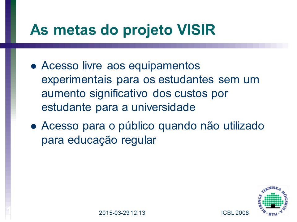 As metas do projeto VISIR Acesso livre aos equipamentos experimentais para os estudantes sem um aumento significativo dos custos por estudante para a