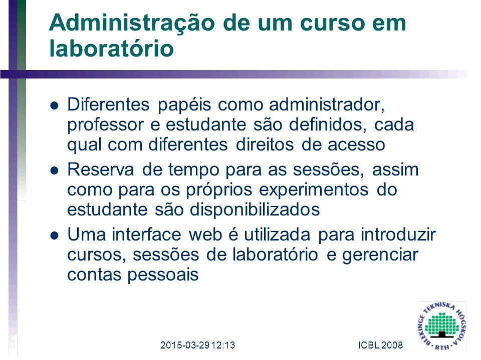 Administração de um curso em laboratório Diferentes papéis como administrador, professor e estudante são definidos, cada qual com diferentes direitos