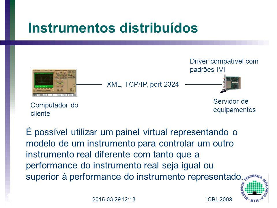 Instrumentos distribuídos XML, TCP/IP, port 2324 Computador do cliente Servidor de equipamentos Driver compatível com padrões IVI É possível utilizar