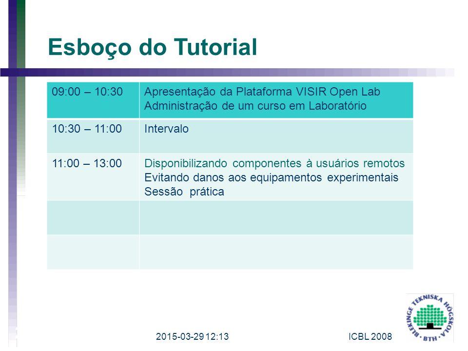 2015-03-29 12:15ICBL 2008 2 Esboço do Tutorial 09:00 – 10:30Apresentação da Plataforma VISIR Open Lab Administração de um curso em Laboratório 10:30 –