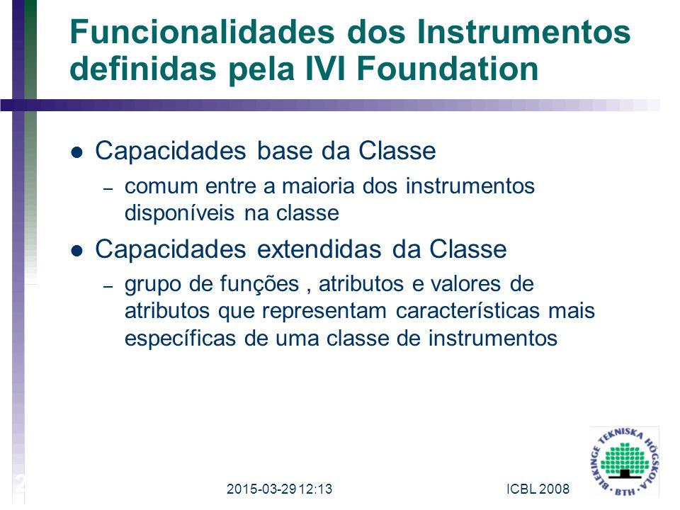Funcionalidades dos Instrumentos definidas pela IVI Foundation Capacidades base da Classe – comum entre a maioria dos instrumentos disponíveis na clas