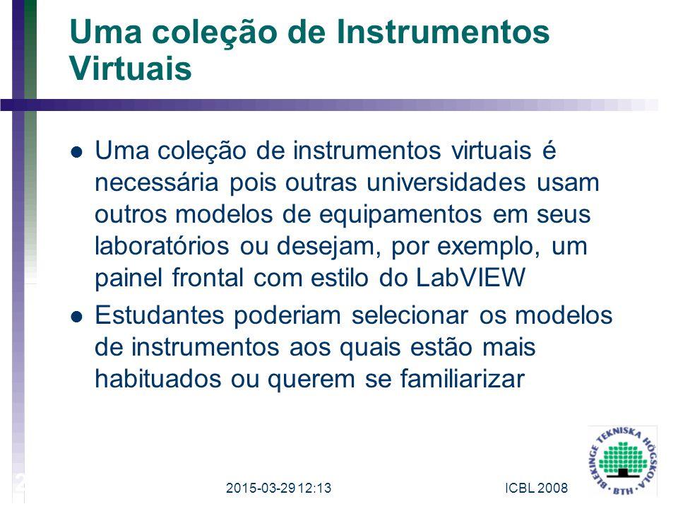 Uma coleção de Instrumentos Virtuais Uma coleção de instrumentos virtuais é necessária pois outras universidades usam outros modelos de equipamentos e