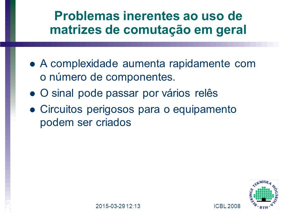 Problemas inerentes ao uso de matrizes de comutação em geral A complexidade aumenta rapidamente com o número de componentes. O sinal pode passar por v