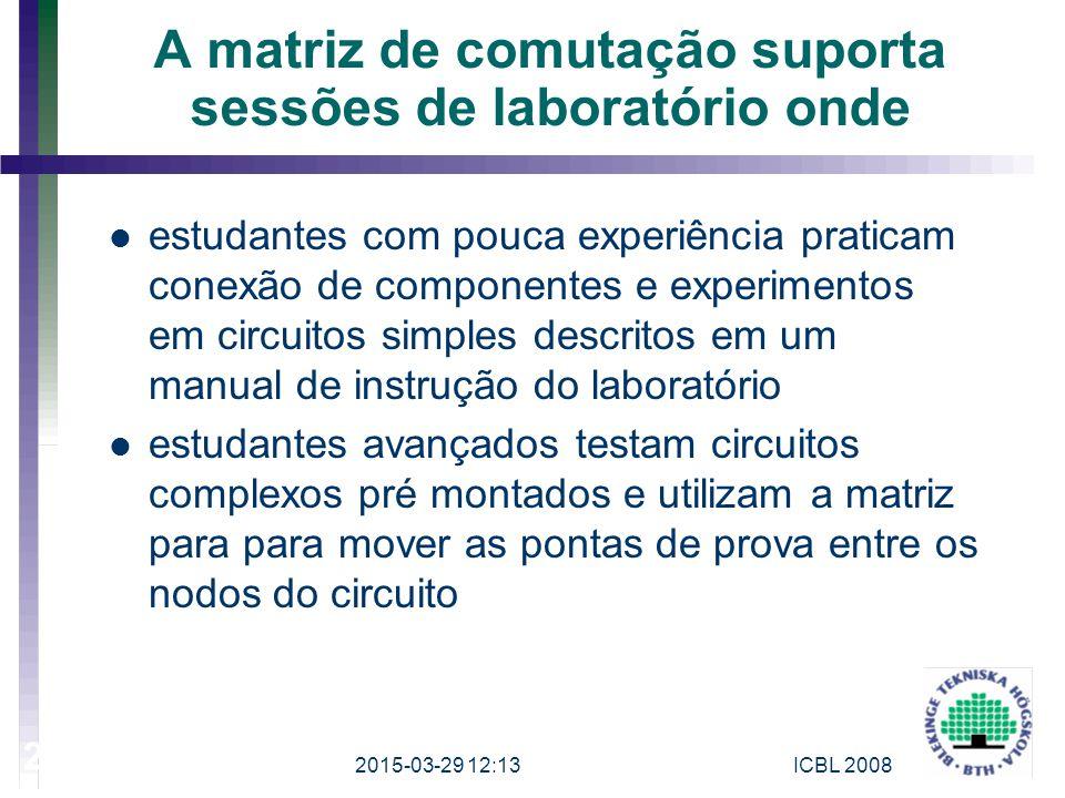 A matriz de comutação suporta sessões de laboratório onde estudantes com pouca experiência praticam conexão de componentes e experimentos em circuitos