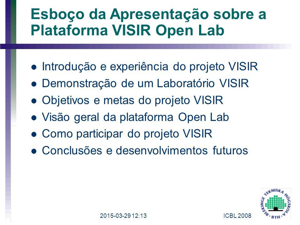 2015-03-29 12:15ICBL 2008 3 Esboço da Apresentação sobre a Plataforma VISIR Open Lab Introdução e experiência do projeto VISIR Demonstração de um Labo