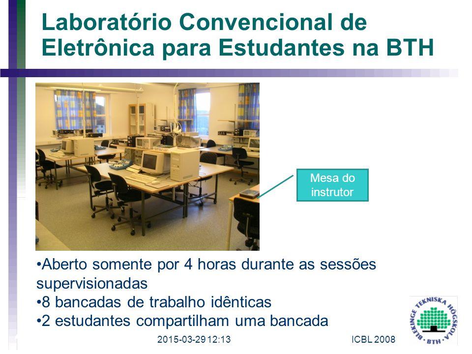 2015-03-29 12:15ICBL 2008 4 Laboratório Convencional de Eletrônica para Estudantes na BTH Aberto somente por 4 horas durante as sessões supervisionada