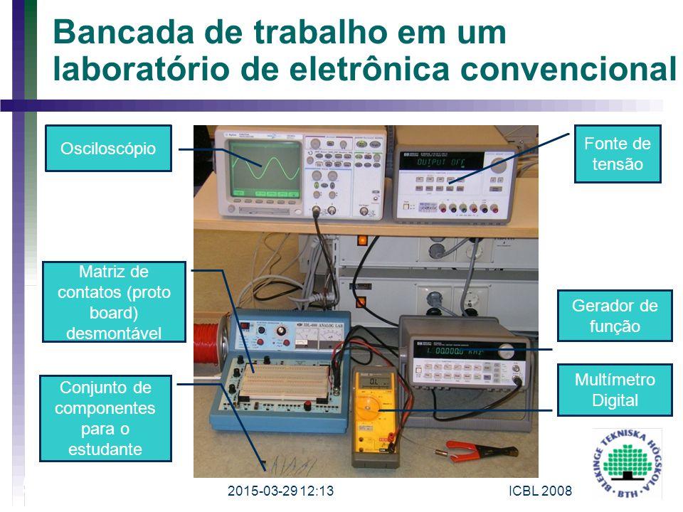 2015-03-29 12:15ICBL 2008 5 Bancada de trabalho em um laboratório de eletrônica convencional Osciloscópio Fonte de tensão Gerador de função Multímetro