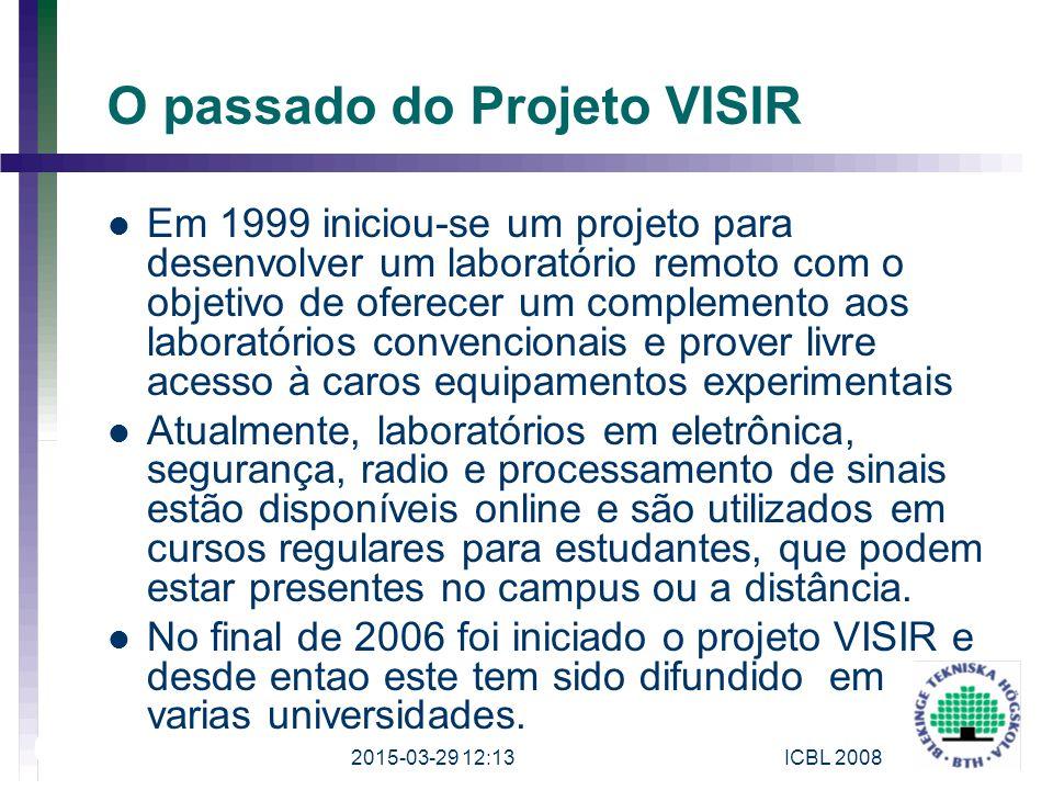 O passado do Projeto VISIR Em 1999 iniciou-se um projeto para desenvolver um laboratório remoto com o objetivo de oferecer um complemento aos laborató