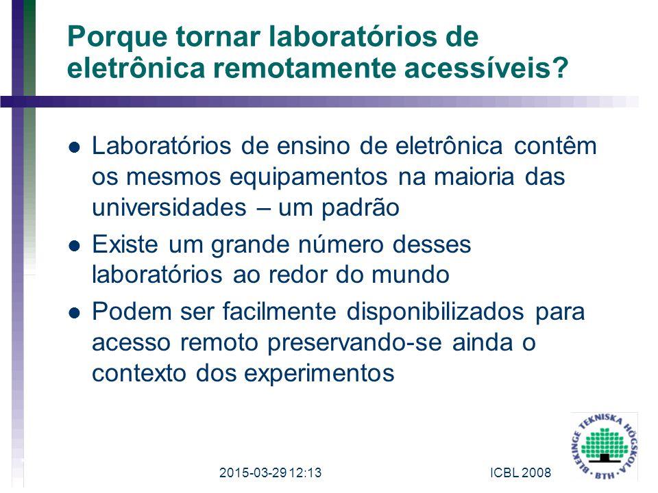 Porque tornar laboratórios de eletrônica remotamente acessíveis? Laboratórios de ensino de eletrônica contêm os mesmos equipamentos na maioria das uni