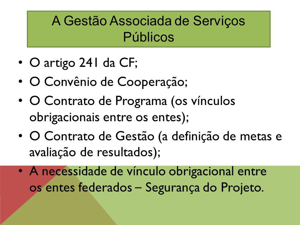 O artigo 241 da CF; O Convênio de Coopera ç ão; O Contrato de Programa (os v í nculos obrigacionais entre os entes); O Contrato de Gestão (a defini ç