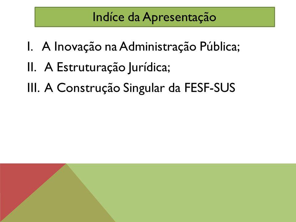 I.A Inovação na Administração Pública; II. A Estruturação Jurídica; III. A Construção Singular da FESF-SUS Indíce da Apresentação