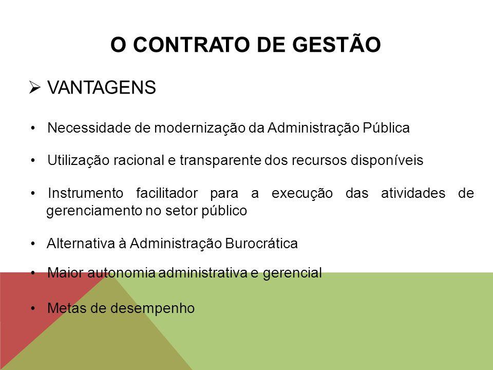 O CONTRATO DE GESTÃO  VANTAGENS Necessidade de modernização da Administração Pública Utilização racional e transparente dos recursos disponíveis Inst