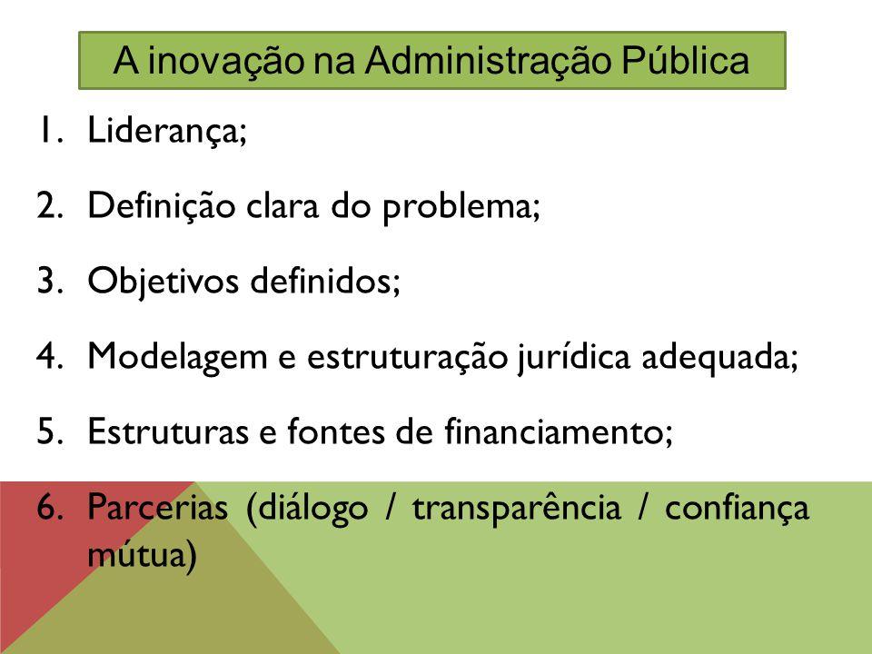 1.Liderança; 2.Definição clara do problema; 3.Objetivos definidos; 4.Modelagem e estruturação jurídica adequada; 5.Estruturas e fontes de financiament