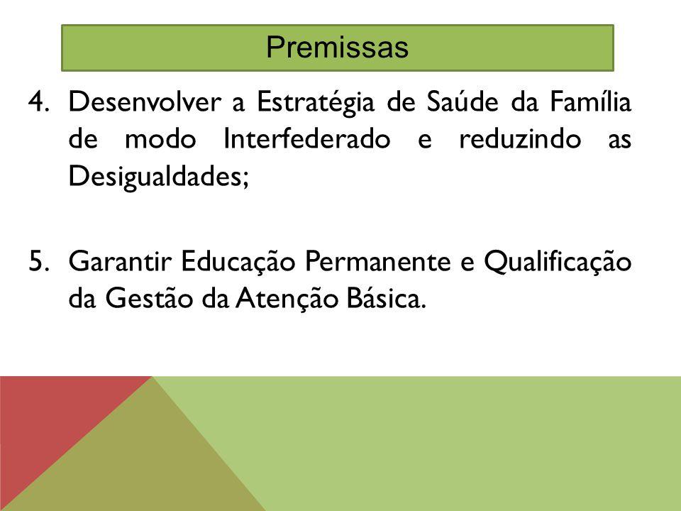 4.Desenvolver a Estratégia de Saúde da Família de modo Interfederado e reduzindo as Desigualdades; 5.Garantir Educação Permanente e Qualificação da Ge