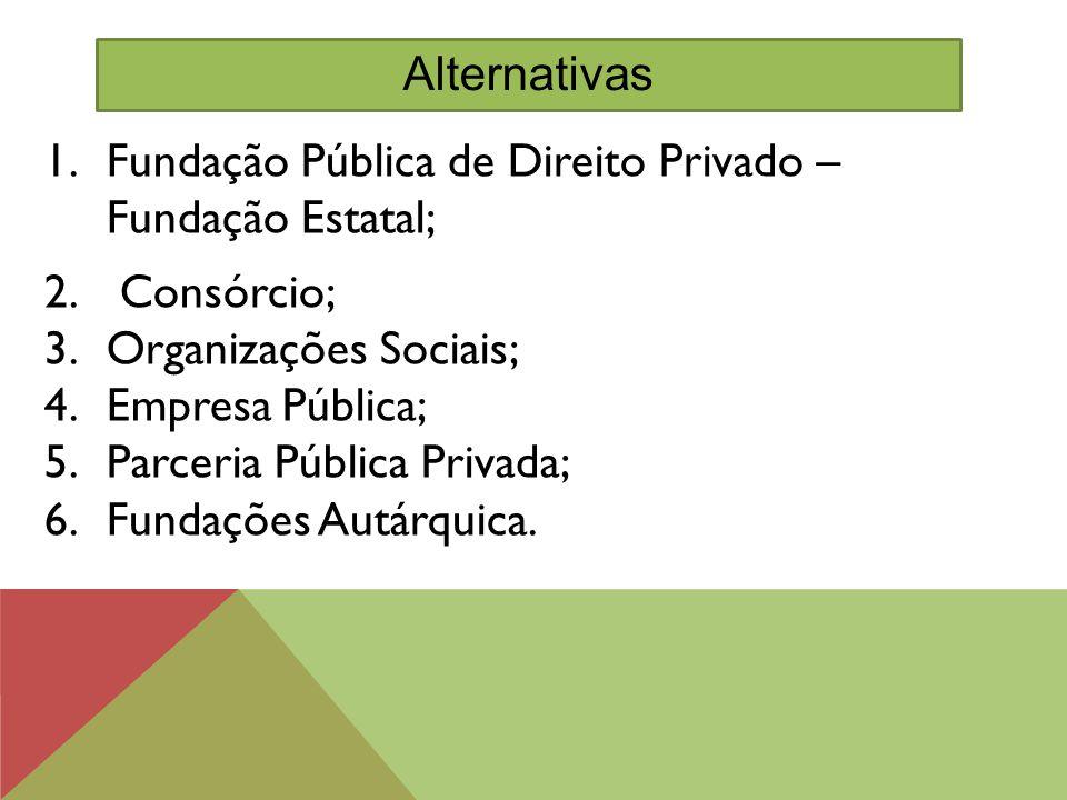 1.Fundação Pública de Direito Privado – Fundação Estatal; 2. Consórcio; 3.Organizações Sociais; 4.Empresa Pública; 5.Parceria Pública Privada; 6.Funda