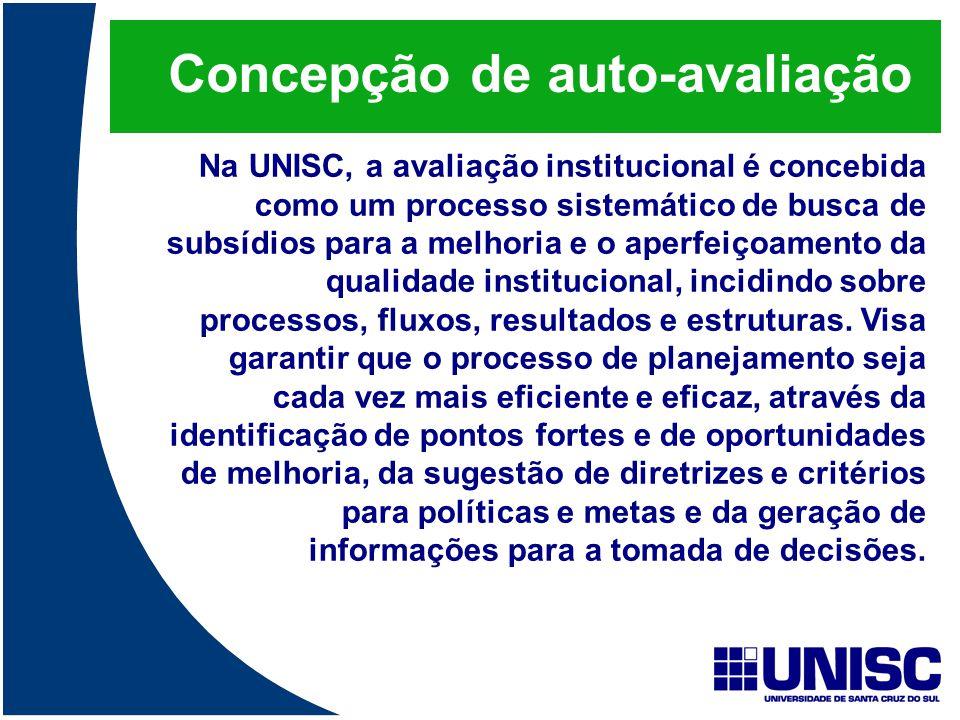 Concepção de auto-avaliação Na UNISC, a avaliação institucional é concebida como um processo sistemático de busca de subsídios para a melhoria e o ape