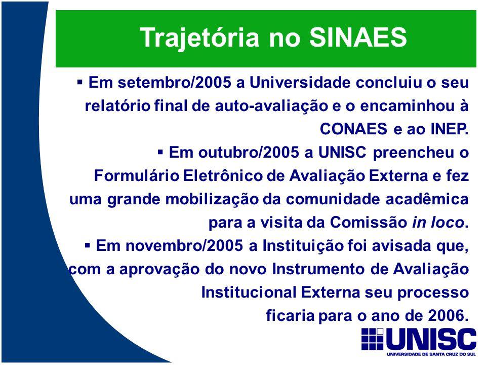Trajetória no SINAES  Em setembro/2005 a Universidade concluiu o seu relatório final de auto-avaliação e o encaminhou à CONAES e ao INEP.  Em outubr