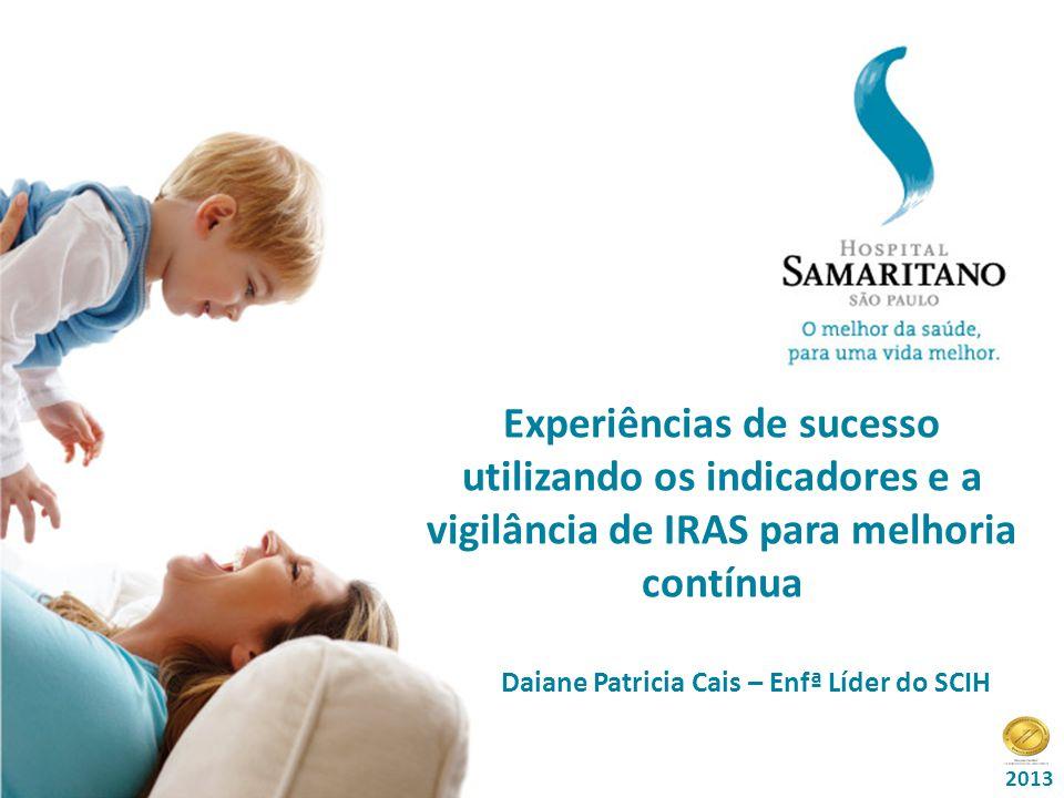 Título da Palestra: Data: Experiências de sucesso utilizando os indicadores e a vigilância de IRAS para melhoria contínua 2013 Daiane Patricia Cais – Enfª Líder do SCIH