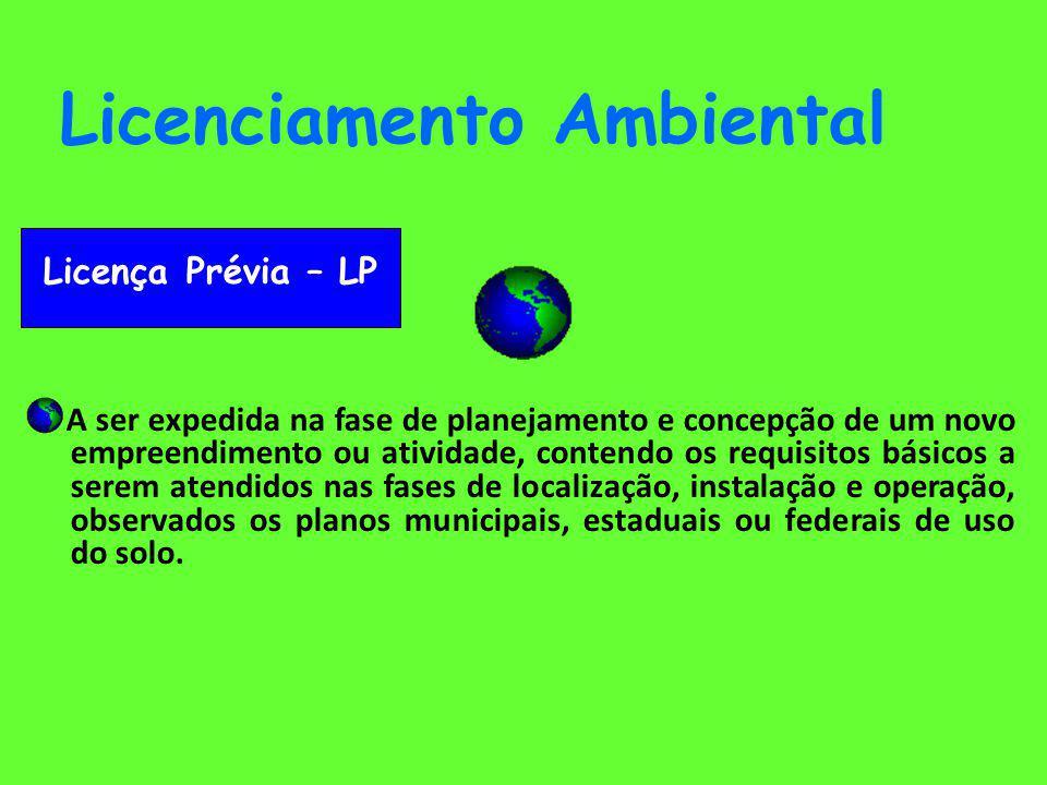 Licenciamento Ambiental Licença de Instalação LI - A ser expedida após análise das especificações do Projeto Executivo Definitivo do empreendimento e da apresentação dos planos, programas e projetos, onde serão apresentados o atendimento das condicionantes da LP e as informações detalhadas do projeto, processos e tecnologias adotadas para a neutralização, mitigação ou compensação dos impactos ambientais provocados, assim como os procedimentos de monitoramento ambiental; - A LI precede os procedimentos de efetivo início de implantação da atividade ou empreendimento.