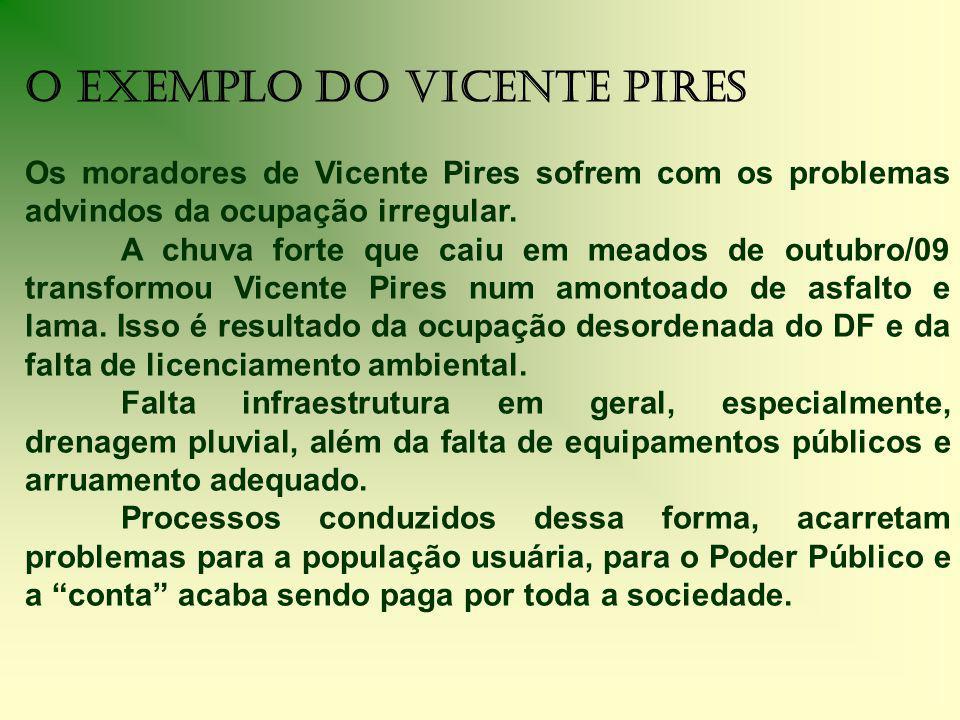 O Exemplo do Vicente Pires Os moradores de Vicente Pires sofrem com os problemas advindos da ocupação irregular.