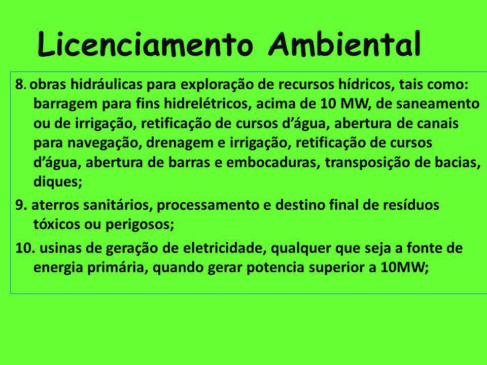 Licenciamento Ambiental Exemplos de empreendimentos de Significativo Impacto Ambiental 13.