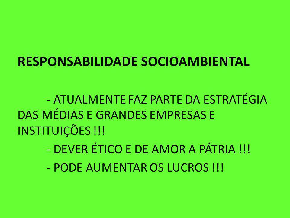 RESPONSABILIDADE SOCIOAMBIENTAL - ATUALMENTE FAZ PARTE DA ESTRATÉGIA DAS MÉDIAS E GRANDES EMPRESAS E INSTITUIÇÕES !!.