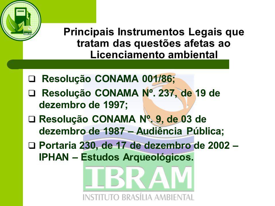 Principais Instrumentos Legais que tratam das questões afetas ao Licenciamento ambiental  Resolução CONAMA 001/86;  Resolução CONAMA Nº.