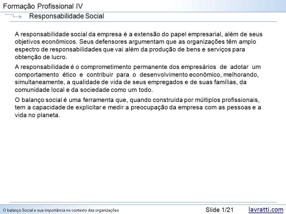 lavratti.com Slide 1/21 Formação Profissional IV Responsabilidade Social A responsabilidade social da empresa é a extensão do papel empresarial, além de seus objetivos econômicos.