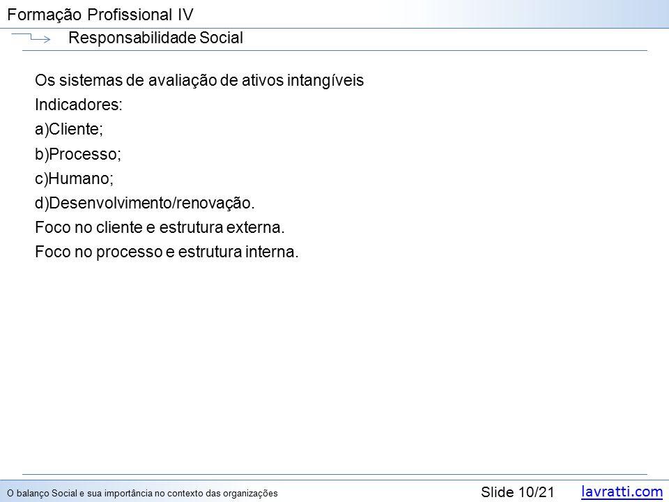 lavratti.com Slide 10/21 Formação Profissional IV Responsabilidade Social Os sistemas de avaliação de ativos intangíveis Indicadores: a)Cliente; b)Processo; c)Humano; d)Desenvolvimento/renovação.