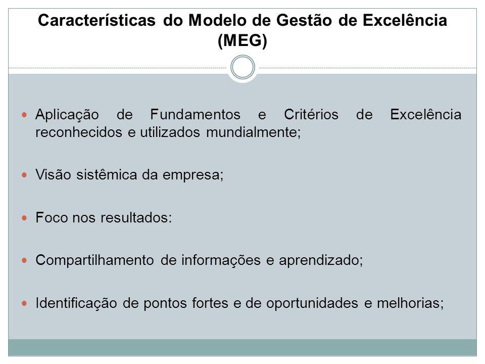 Características do Modelo de Gestão de Excelência (MEG) Aplicação de Fundamentos e Critérios de Excelência reconhecidos e utilizados mundialmente; Vis