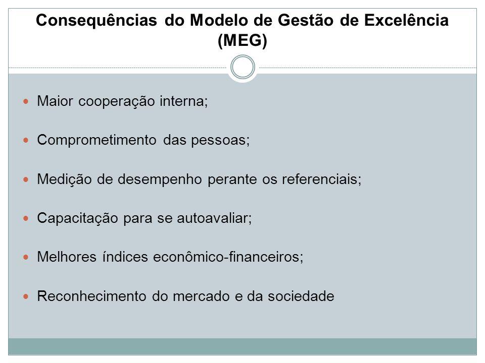 Consequências do Modelo de Gestão de Excelência (MEG) Maior cooperação interna; Comprometimento das pessoas; Medição de desempenho perante os referenc