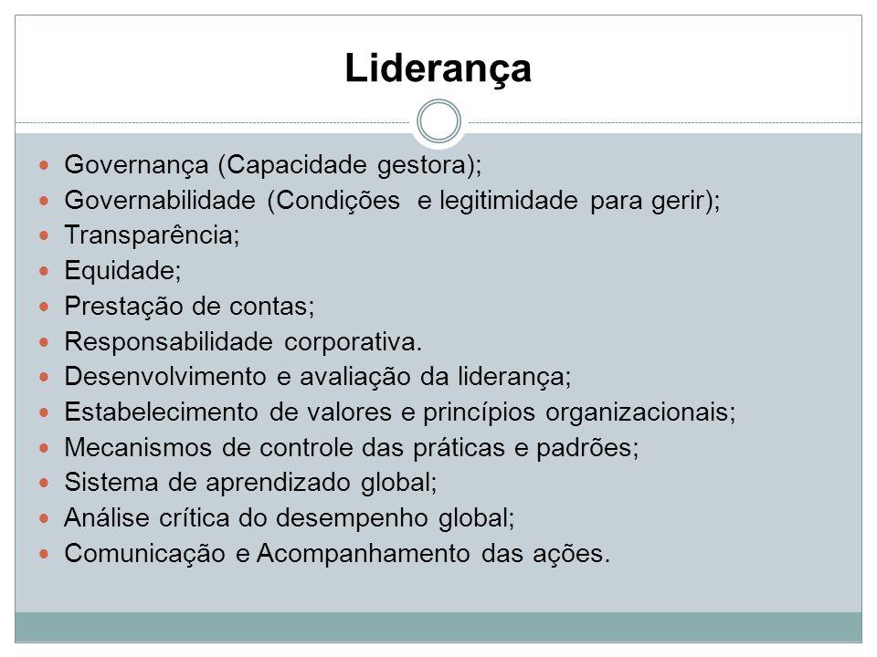 Liderança Governança (Capacidade gestora); Governabilidade (Condições e legitimidade para gerir); Transparência; Equidade; Prestação de contas; Respon