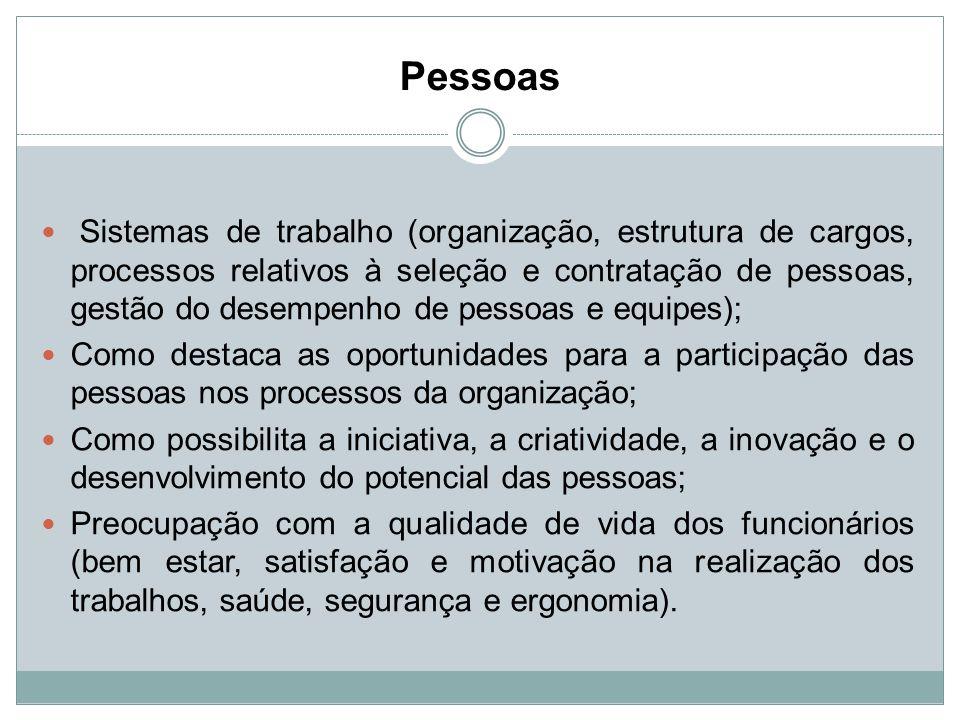 Pessoas Sistemas de trabalho (organização, estrutura de cargos, processos relativos à seleção e contratação de pessoas, gestão do desempenho de pessoa