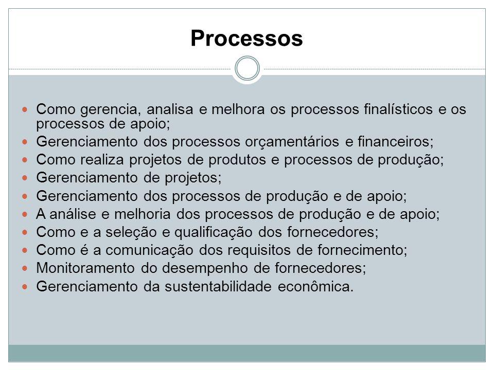 Processos Como gerencia, analisa e melhora os processos finalísticos e os processos de apoio; Gerenciamento dos processos orçamentários e financeiros;