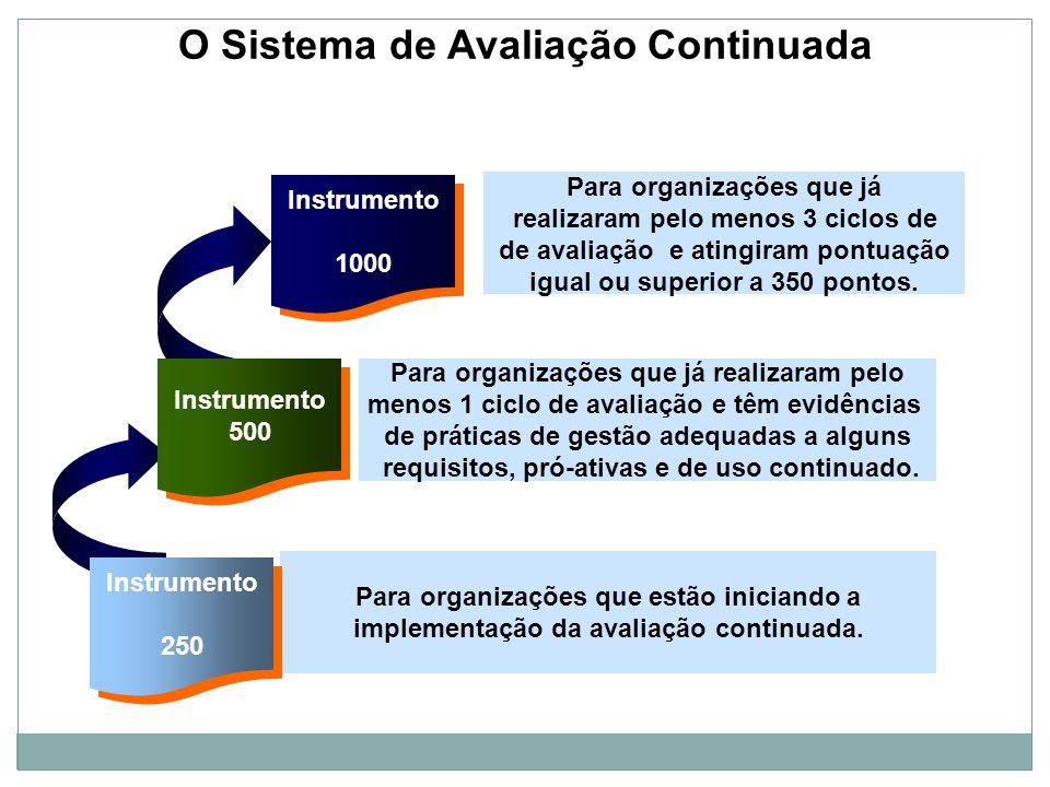 O Sistema de Avaliação Continuada Instrumento 1000 Instrumento 1000 Para organizações que já realizaram pelo menos 3 ciclos de de avaliação e atingira