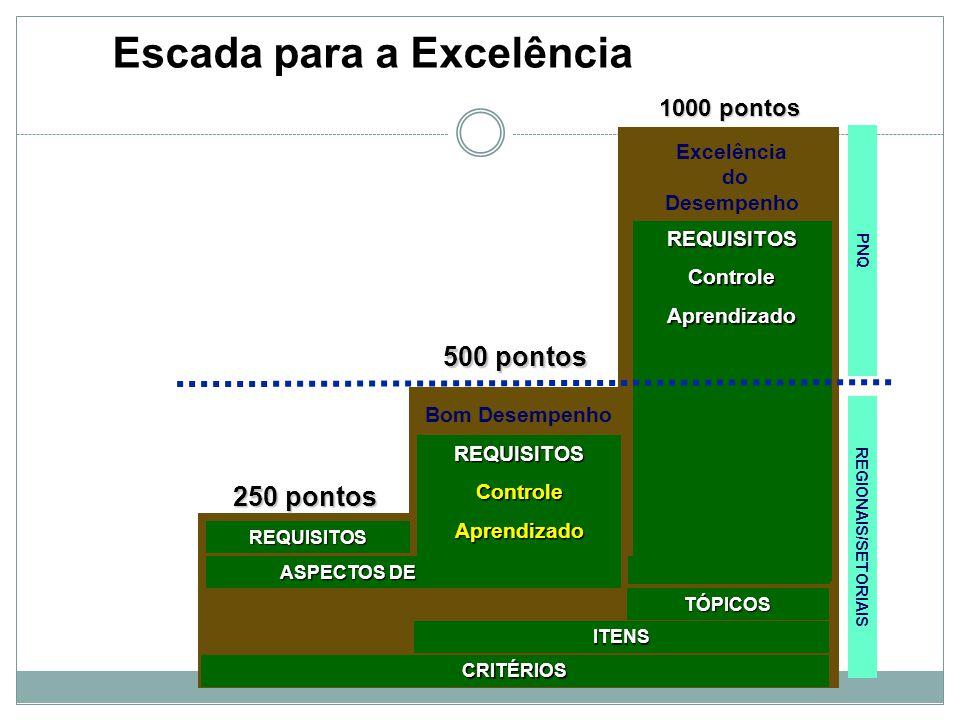 PNQ Excelência do Desempenho Bom Desempenho 250 pontos CRITÉRIOS ASPECTOS DE AVALIAÇÃO REQUISITOS ITENS TÓPICOS 500 pontos 1000 pontos REGIONAIS/SETOR