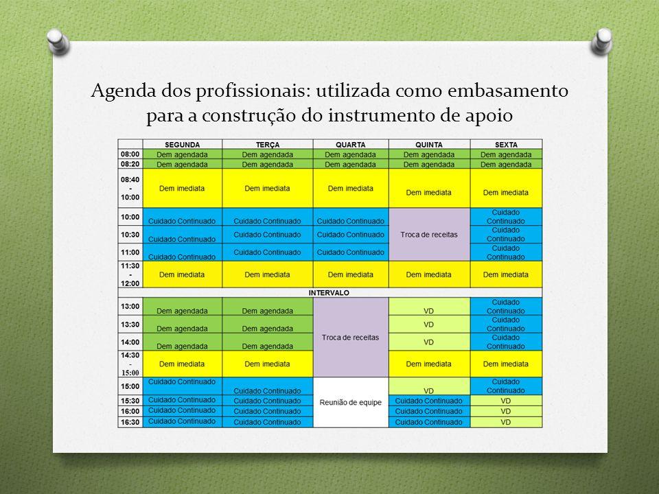 Agenda dos profissionais: utilizada como embasamento para a construção do instrumento de apoio