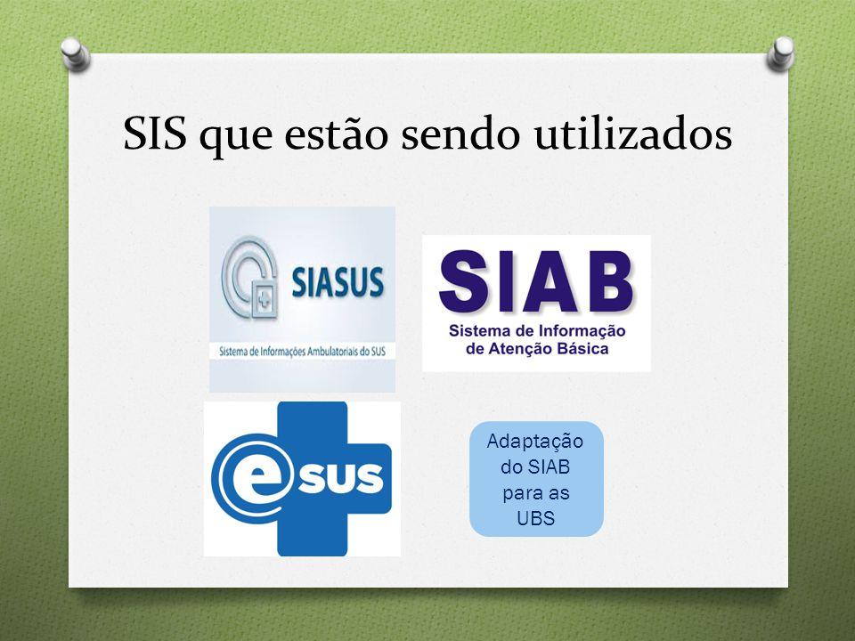 SIS que estão sendo utilizados Adaptação do SIAB para as UBS